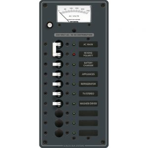 Blue Sea 8588 Breaker Panel - AC Main + 8 Positions (European) - White