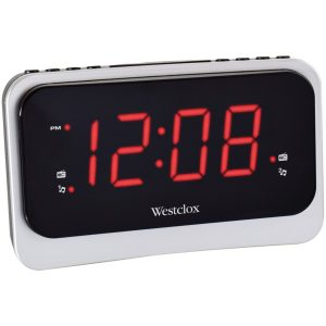 Westclox 80231NS 1.4-Inch Red LED Clock Radio with Nature Sounds and 1 Amp USB