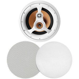 """BIC America H-310C 250-Watt 3-Way 10"""" In-Ceiling Speaker with Pivoting Tweeter & Midrange Plus Metal & Cloth Grilles"""
