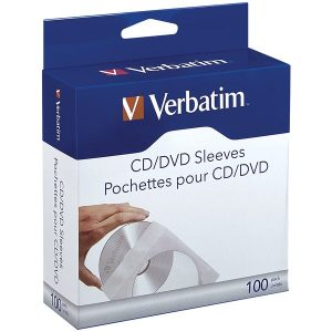 Verbatim 49976 CD/DVD Paper Sleeves with Clear Window