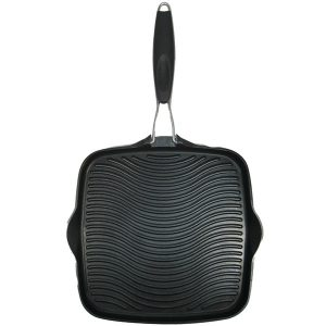 """STARFRIT(R) 30036-006-SPEC 10"""" x 10"""" Grill Pan with Foldable Handle"""