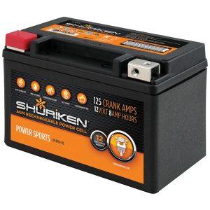 Shuriken SK-BTX9-BS 125 Crank Amps 8Ah AGM Powersports 12-Volt Battery