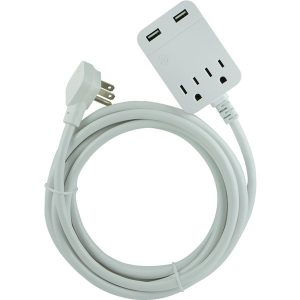 GE 32089 USB Extension Cord with Surge Protection