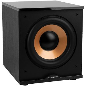 """BIC America H-100II 500-Watt Acoustech 12"""" Front-Firing Powered Subwoofer with Black Lacquer Top"""