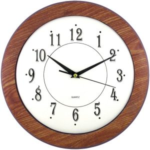 "Timekeeper 6415 12"" Wood Grain Round Wall Clock"