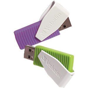 Verbatim 98425 Store 'n' Go Swivel USB Drives (16GB; 2 pk; Green/Violet)