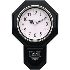"""Timekeeper 180BWAC Essex 18.75"""" Modern Pendulum Wall Clock (Black)"""