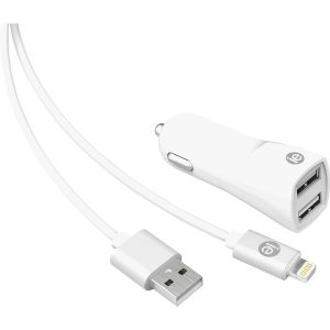 iEssentials IEN-PCL-22A 2.4-Amp Dual-USB Car Charger with USB-A Lightning Cable