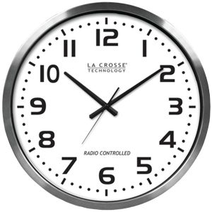 "La Crosse Technology 404-1220 20"" Brushed Aluminum Atomic Wall Clock"