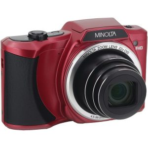 Minolta MN22Z-R 20.0-Megapixel 1080p Full HD Wi-Fi MN22Z Digital Camera with 22x Zoom (Red)