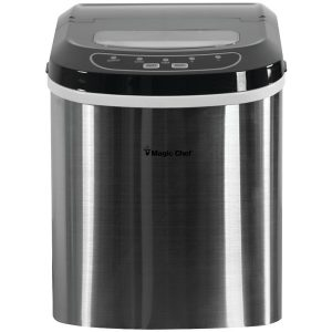 Magic Chef MCIM22ST 27-Pound-Capacity Portable Ice Maker (Stainless with Black Top)