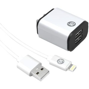 iEssentials IEN-ACL-22A 2.4-Amp Dual USB Wall Charge with Lightning to USB-A Cable