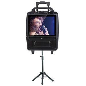QFX KAR-812SM 2 x 5-Inch Portable Karaoke Speaker System with 14-Inch Screen