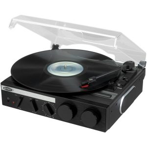 JENSEN JTA-230R 3-Speed Stereo Turntable with Built-in Speakers and Encoding to Computer