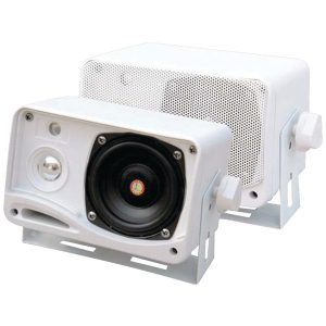 "Pyle PLMR24 Hydra Series 3.5"" 200-Watt 3-Way Weatherproof Mini-Box Speaker System (White)"
