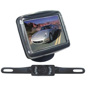 """Pyle PLCM36 3.5"""" Slim TFT LCD Universal Mount Monitor System with License Plate Mount & Backup Camera"""