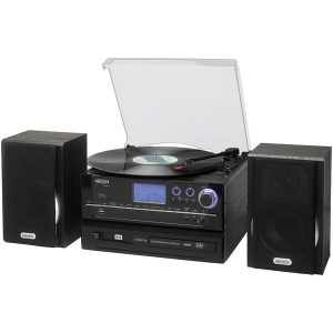 JENSEN JTA-990 3-Speed Stereo Turntable CD Recording System with Cassette Player