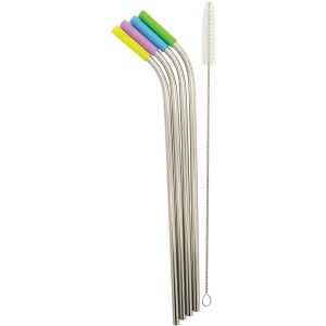 Starfrit 092847-006-0000 Stainless Steel Reusable Straws with Silicone Tips