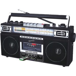 Supersonic SC-3201BT-BK Retro 4-Band Radio and Cassette Player with Bluetooth (Black)
