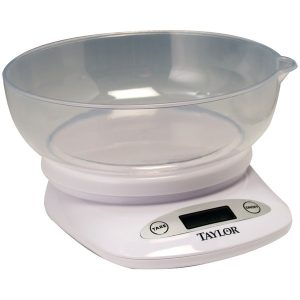 Taylor Precision Products 380444 4.4lb-Capacity Digital Kitchen Scale with Bowl