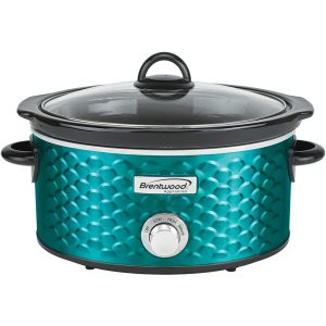 Brentwood Appliances SC-140BL 4.5-Quart Scallop Pattern Slow Cooker (Blue)