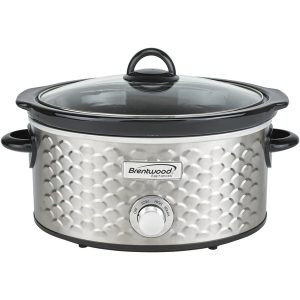 Brentwood Appliances SC-140S 4.5-Quart Scallop Pattern Slow Cooker (Stainless Steel)