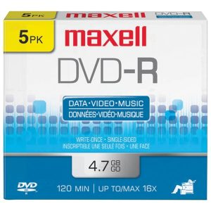 Maxell 638002 4.7GB 120-Minute DVD-Rs (5 pk)