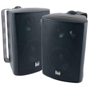 """Dual LU47PB 4"""" 3-Way Indoor/Outdoor Speakers (Black)"""