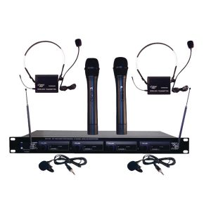 Pyle Pro PDWM4300 4-Channel VHF Wireless Rack-Mount Microphone System