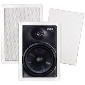 "BIC America M-PRO6W 150-Watt 6.5"" Weather-Resistant In-Wall Speakers with Pivoting Tweeters & Metal & Cloth Grilles"