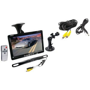 "Pyle PLCM7500 7"" Window Suction-Mount LCD Widescreen Monitor & License-Plate-Mount Backup Color Camera with Distance-Scale Line"