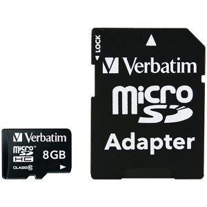 Verbatim 44081 microSDHC Card with Adapter (8GB; Class 10)