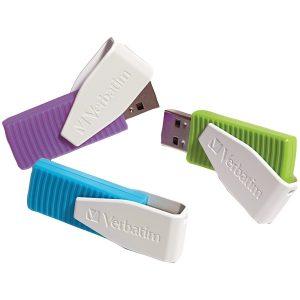 Verbatim 98426 Store 'n' Go Swivel USB Drives (8GB; 3 pk; Blue/Green/Violet)