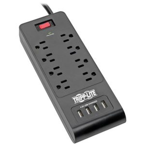 Tripp Lite TLP864USBB Protect It! 8-Outlet Surge Protector with 4 USB Ports
