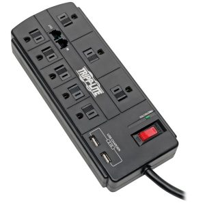 Tripp Lite TLP88TUSBB Protect It! 8-Outlet Surge Protector with 2 USB Ports