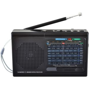 Supersonic SC-1080BT- BLK 9-Band Rechargeable Bluetooth Radio with USB/SD Card Input (Black)