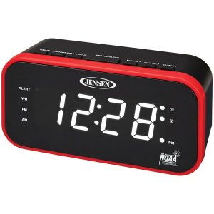 JENSEN JEP-150 AM/FM/NOAA Weather Band Clock Radio with Weather Alert