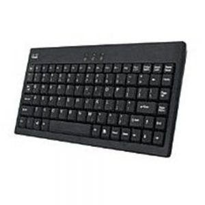 Adessonic AKB-110B EasyTouch Mini External USB Wired Keyboard for PC - USB to PS/2 Adapter - Black