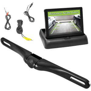 "Pyle PLCM4500 Rearview License-Plate Swivel Camera & Pop-up 4.3"" Monitor System"