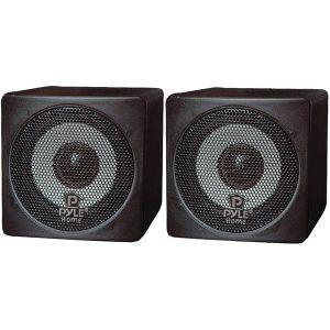 """Pyle Home PCB3BK 3"""" 100-Watt Mini-Cube Bookshelf Speakers (Black)"""