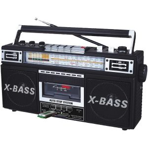 QFX J-22U Retro X AM/FM/SW1 and SW2 Radio with Cassette Player and MP3 Conversion