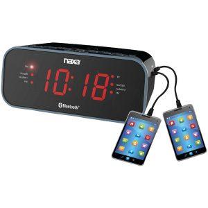 Naxa NRC-182 Bluetooth Dual Alarm Clock Radio with 2 USB Charge Ports