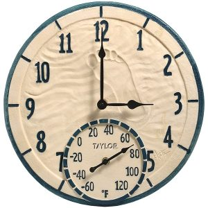 "Springfield Precision 91501T 14"" Poly Resin Clock with Thermometer (By the Sea)"