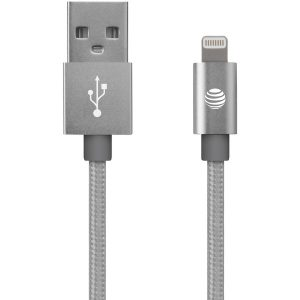 AT&T SC03B-LGT-SLV Charge & Sync Braided USB to Lightning Cable