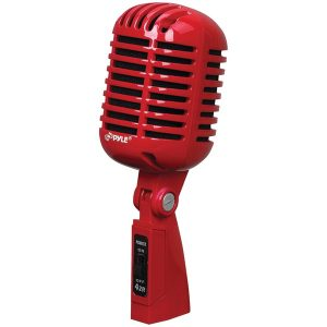 Pyle Pro PDMICR42R Classic Retro Vintage-Style Dynamic Vocal Microphone (Red)