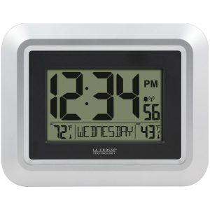 La Crosse Technology 513-1918S-INT Atomic Digital Wall Clock with Indoor/Outdoor Temperature