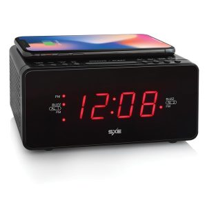 SXE SXE87014CN Digital LED Clock Radio with Wireless Charging and 1-Amp USB Charging Port