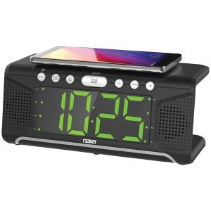"Naxa NRC-190 Dual Alarm Clock with Qi Wireless Charging (1.8"" Jumbo Display)"