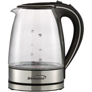 Brentwood Appliances KT-1900BK 1.7-Liter Cordless Tempered-Glass Electric Kettle (Black)