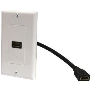 Steren 526-101WH HDMI Wall Plate & Pigtail